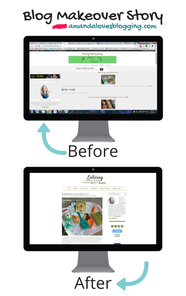 enticing healthy eating blog makeover before and after via amandardewitt.com